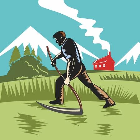 harvesting: Vector Vintage Agriculture Farmland Illustration, farmer harvesting with scythe