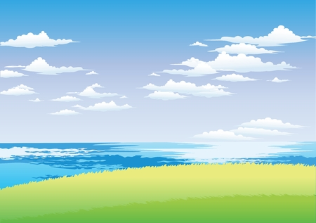 shinning light: Vector Seaside Highland Ocean and sky view background Illustration