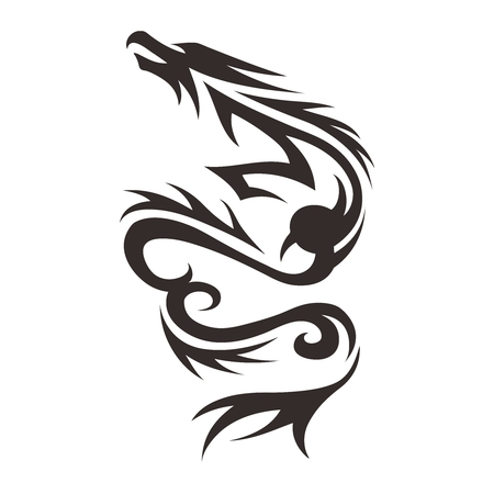 prestige: Vector Chinese Dragon Tattoo Illustration isolated on white