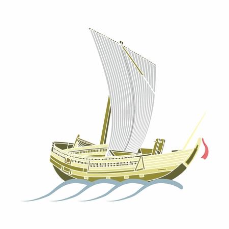 keel: Vector Vintage Oriental Wooden Trireme Illustration Sailing on Ocean Weaves