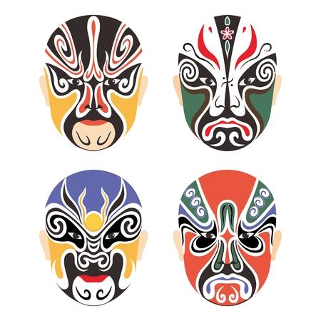 teatro antiguo: Máscara vectorial tradicional china Opera Cultural Conjunto de la colección aislado en blanco Vectores