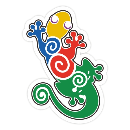 Ilustración artística del vector colorido Salamandra silueta, aislado en fondo blanco Vectores