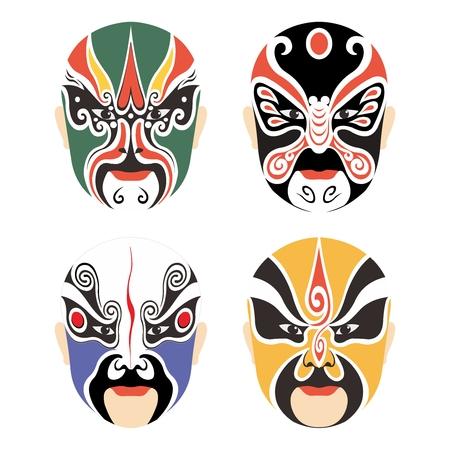 Vector Traditionele Chinese Culturele Masker van de Opera Set collectie op wit wordt geïsoleerd