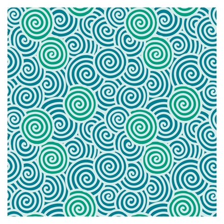 Vector Seamless Repetaing Japanese Pattern Illustration, spiral wave Çizim