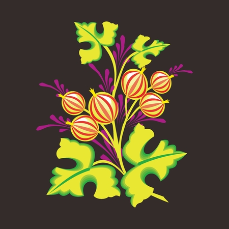 shinning leaves: Vector Artistic Abstract Floral Illustration on black background