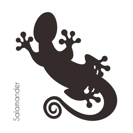 Ilustración artística del vector tribal Negro Blanco Salamandra silueta, aislado en fondo blanco Ilustración de vector