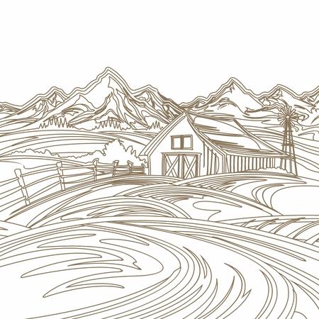 farmland: Vector Vintage Pencil Sketch Background for Farmland