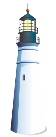 jetty: Vector 3D Realistic White Lighthouse Illustration isolated on white background Illustration
