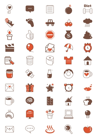 food drink: Vector Everyday Lifestyle Icon Set Collection, isolated on white background