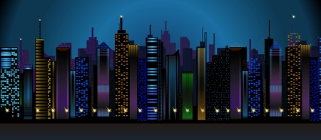 city center: Vector Conceptual Downtown Night View, Skyscrapers City Center Illustration