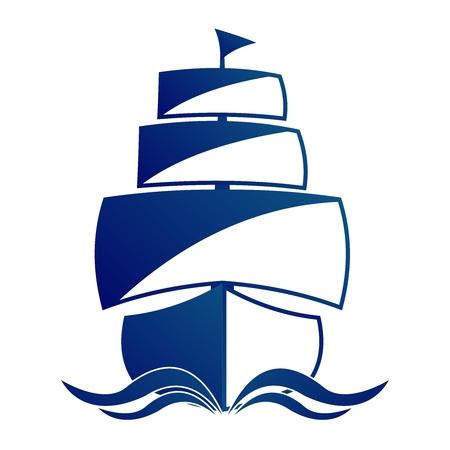 frigate: Vector Simple Vintage Frigate Illustration, monochrome sailing on sea Illustration