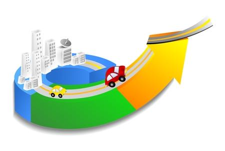spurt: Vector 3D Conceptual City Development Illustration, infrastructure building on a upward arrow