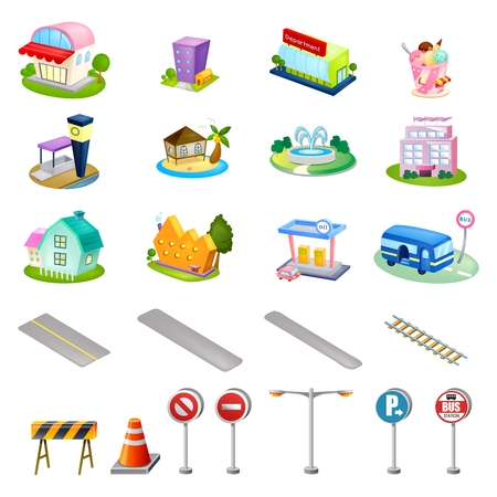 borne fontaine: Vector Cute Cartoon City Infrastructure Illustration Set Collection