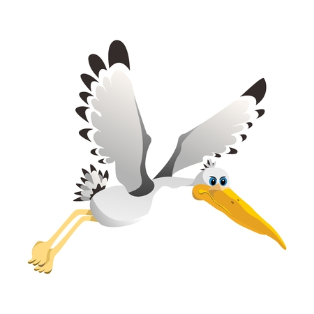 Vector Simple Cartoon Flying Pelican Illustration isolated on white background