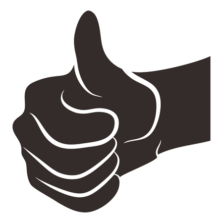 job icon: Vector Realistic Thumb Up Portrait Illustration, isolated on white