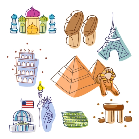 the place is important: Vector Simple Cute World Historic Landmark Outline Sketch Illustration Illustration