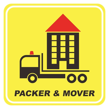 packer: Vector Creative Packer and Mover Rectangle Yellow Window Sticker