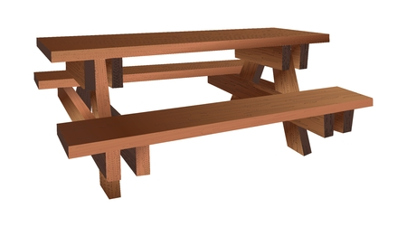 yard furniture: Vector 3D Realistic Wooden Picnic Bench Illustration with detailed wood texture Illustration