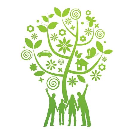 Conceptual del vector verde del fondo Ilustración gráfica Sociedad Ilustración de vector