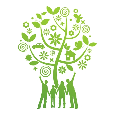 Vector Conceptual Green Society Graphic Background Illustration
