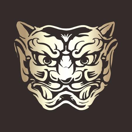 hermetic: Vector Tattoo Style Gargoyle Face Illustration on black background Illustration