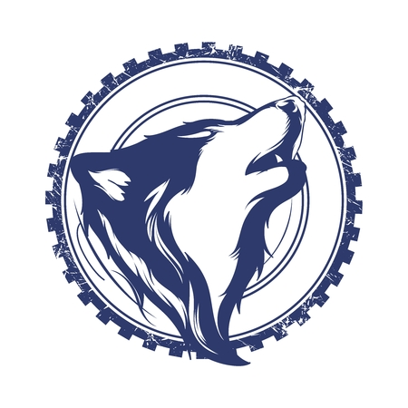 timber wolf: Vector Creative Retro Wolf Head Badge Illustration isolated on white background