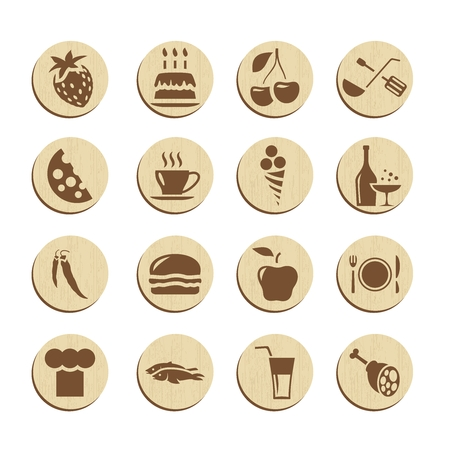 sweet course: Vector Light Circle Food Icon Illustration Set Collection Illustration
