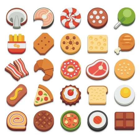 Vector Cartoon Breakfast and Snack Icon Illustration Set Collection 向量圖像