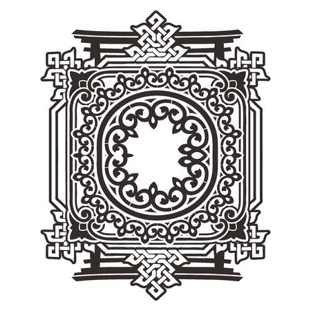 pattern antique: Vector Complex Monochrome Oriental Ornament Background Illustration