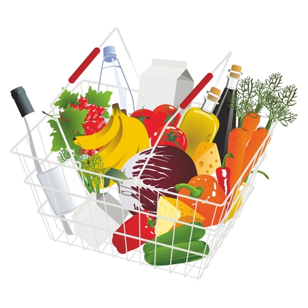 item: Vector Conceptual Supermarket Groceries Metal Shopping Basket