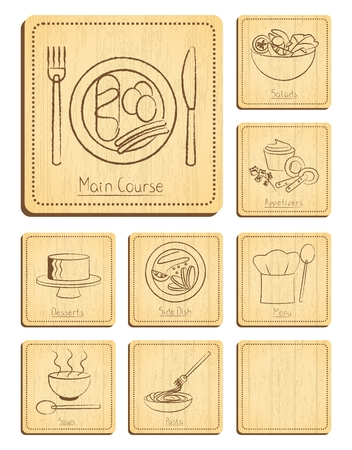 sweet course: Vector Restaurant Menu Illustartion Collection Engraving on Rectangle Wooden Board