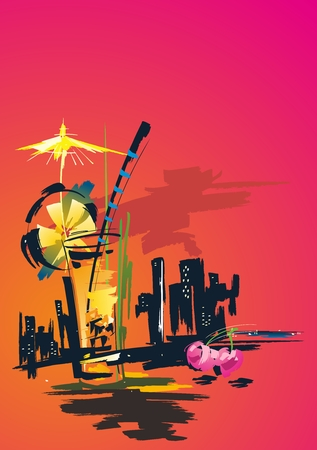 impression: Vector Creative Urban Sunset City Lifestyle Impression Background Illustration Illustration