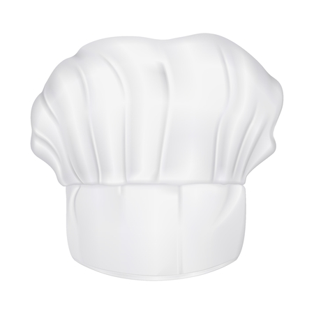 3d chef: Vector 3D Realistic Chef Hat Portrait isolated on white background
