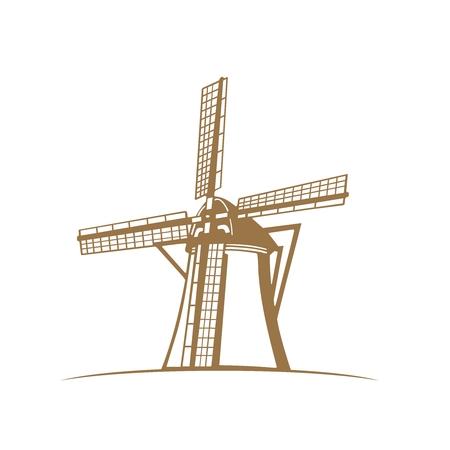 ベクトル モノクロ伝統的なオランダ風車のシルエットの肖像画図では、白で隔離