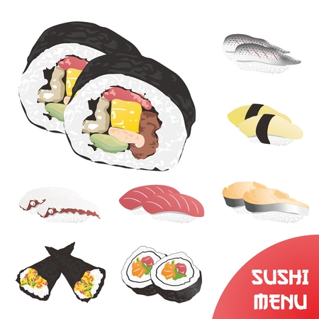 raw egg: Vector 3D Japanese Sushi Menu Realistic Portrait Illustration Collection isolated on white background