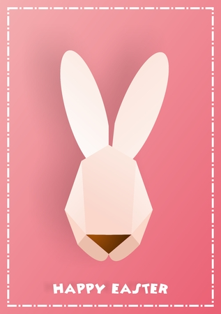 cottontail: Vector Polygonal Rabbit Easter Greeting Card, with pink background