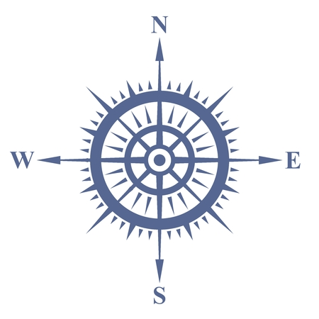 cartographer: Vector Nostalgia Naval Compass Illustration, blue color isolated on white Illustration