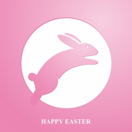 hopping: Vector Easter Greeting Card with Bunny Jumping Over Full moon Illustration