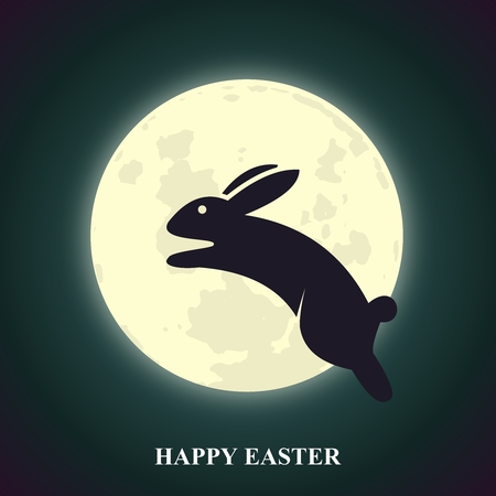 Vector Easter Greeting Card with Bunny Leaping over Glowing Moon at Night Sky Illustration