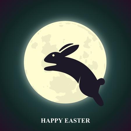 Wenskaart Vector Easter Bunny met Leaping over gloeiende Moon at Night Sky