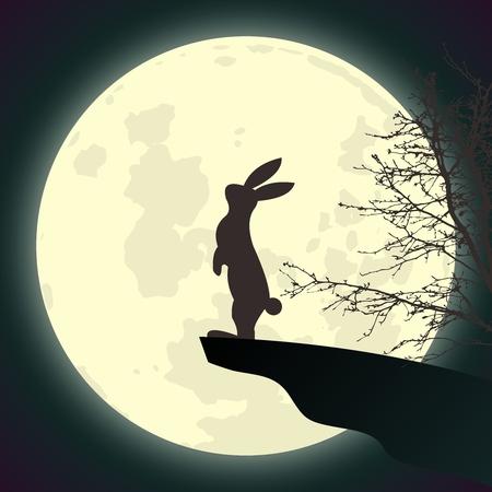 liebre: Conejo vector Adorando luna llena que está parada en el Cliff End en el cielo nocturno Vectores