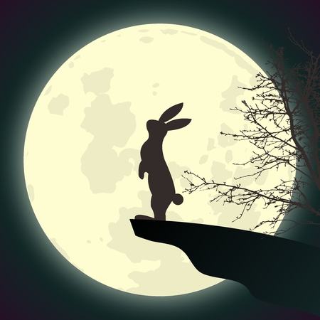 Vector Rabbit Worshiping Full Moon Standing at Cliff End at Night Sky Çizim