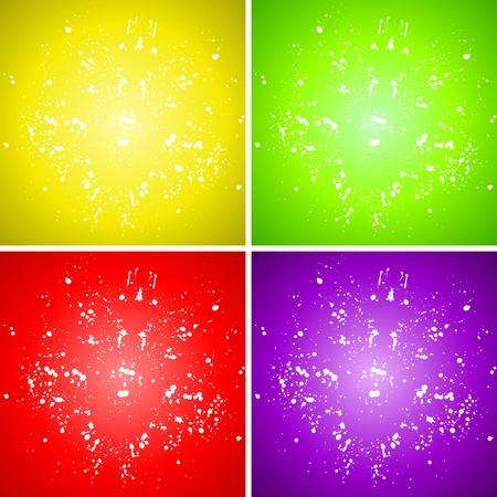 plain: Vector Plain Paint Splash Color Background Set, yellow, green, red, purple Illustration