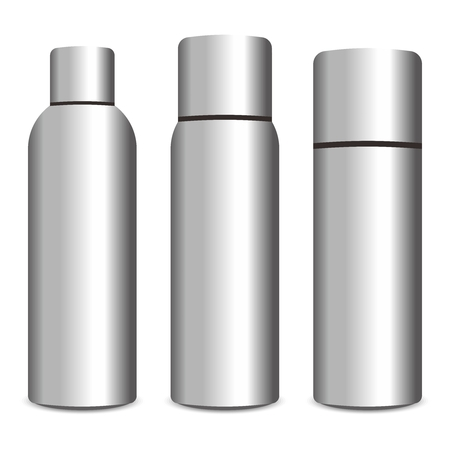 metals: Vector 3D Realistic Shiny Aluminum Spray Bottle with Cap Illustration Illustration