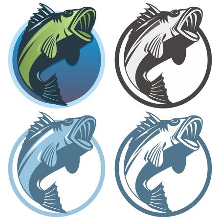 Plantilla Logotipo de la pesca retro del vector, aisladas sobre fondo blanco Foto de archivo - 53590598
