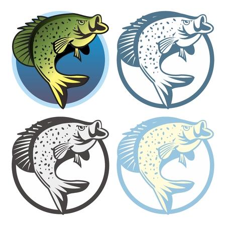 Vector Retro Fishing Logo Template, isolated on white background Illustration