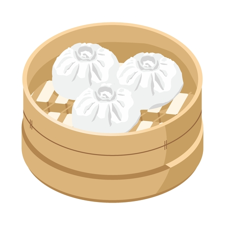 chinese food container: Vector 3D Traditional Chinese Bamboo Steamer with Steamed Buns Illustration, isolated on white background Illustration