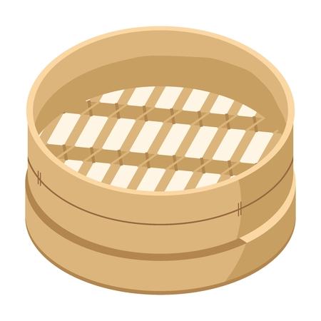 cantonese: Vector 3D Traditional Chinese Bamboo Steamer Illustration, isolated on white background