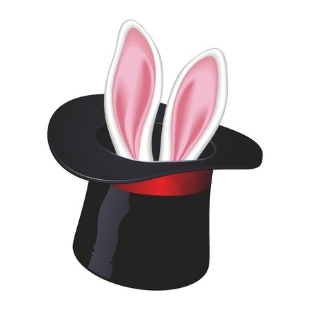 artisitc: Vector 3D Creative Magic Bunny in Top Hat Illustration