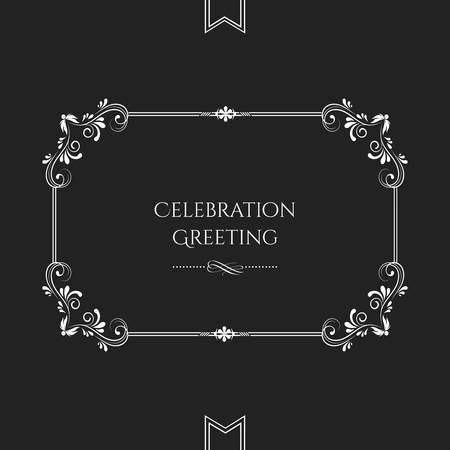 Vector classic floral scroll invitation card template on black vector vector classic floral scroll invitation card template on black background stopboris Image collections